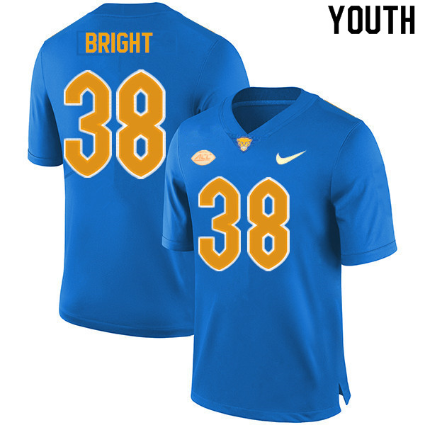 Youth #38 Cam Bright Pitt Panthers College Football Jerseys Sale-New Royal