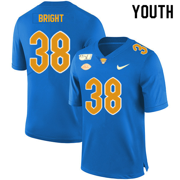 2019 Youth #38 Cameron Bright Pitt Panthers College Football Jerseys Sale-Royal