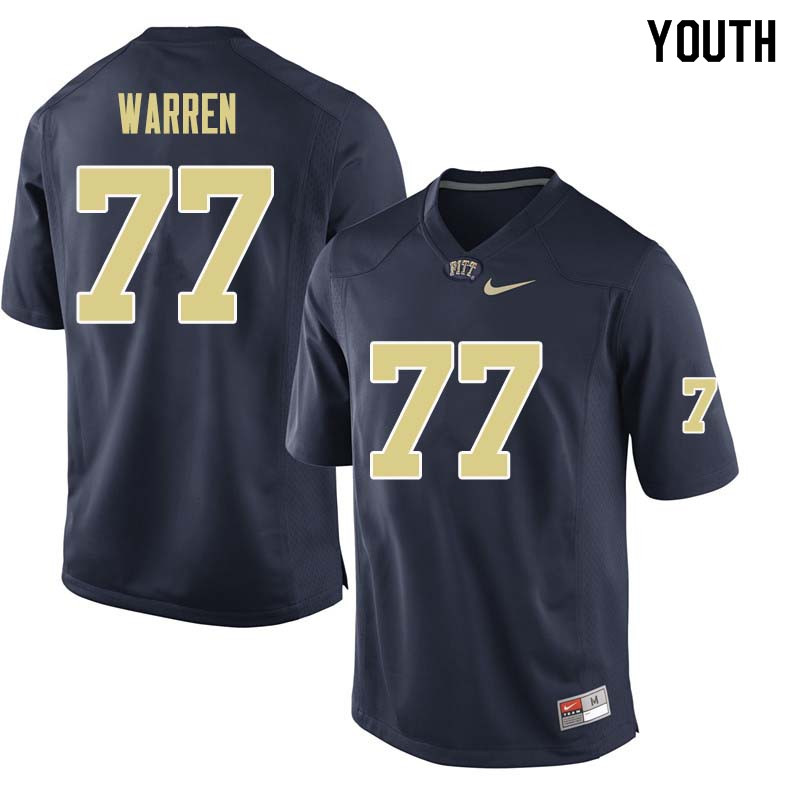 Youth #77 Carter Warren Pittsburgh Panthers College Football Jerseys Sale-Navy