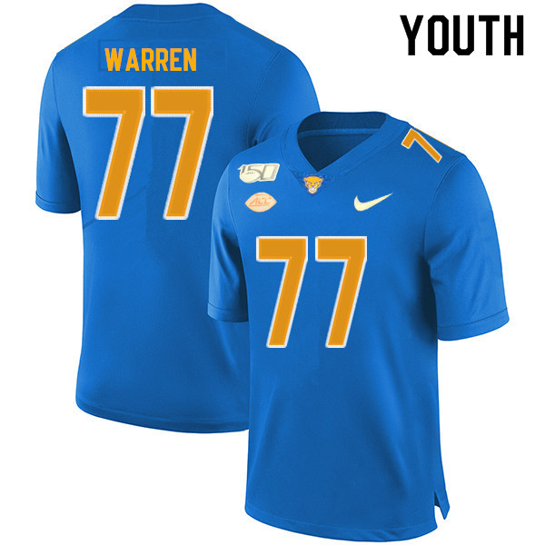 2019 Youth #77 Carter Warren Pitt Panthers College Football Jerseys Sale-Royal