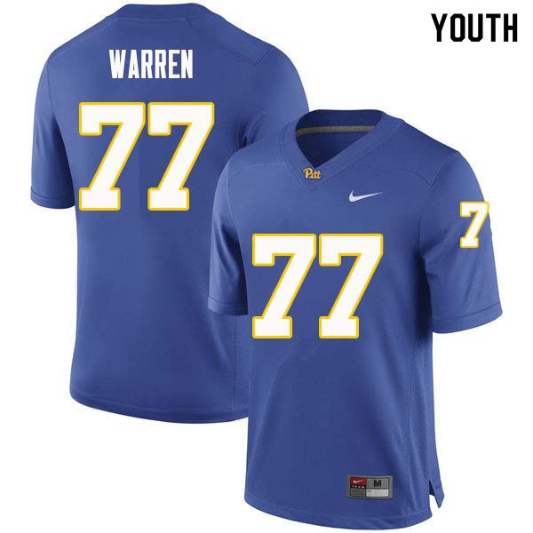Youth #77 Carter Warren Pittsburgh Panthers College Football Jerseys Sale-Royal