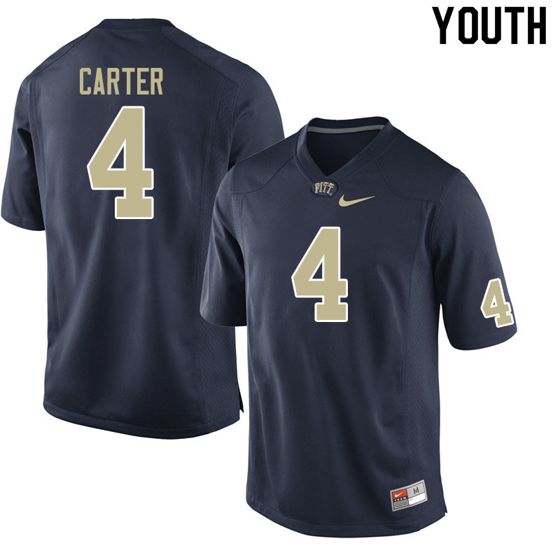 Youth #4 Daniel Carter Pitt Panthers College Football Jerseys Sale-Navy