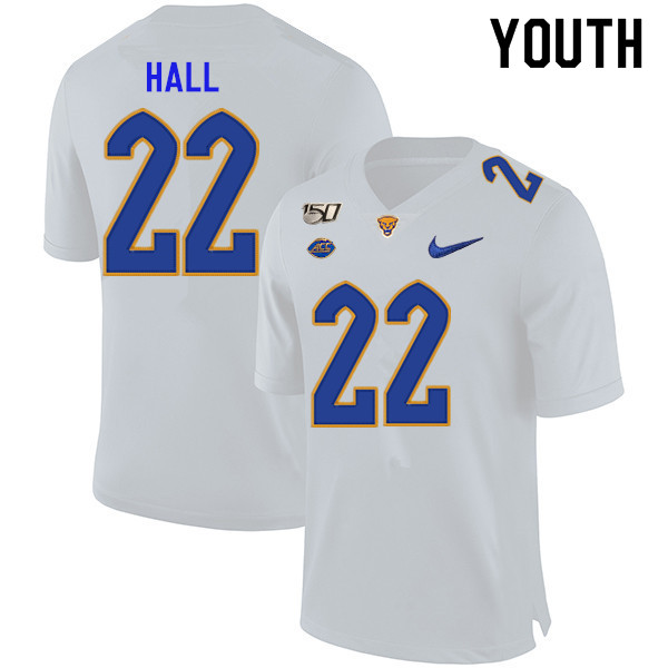 2019 Youth #22 Darrin Hall Pitt Panthers College Football Jerseys Sale-White
