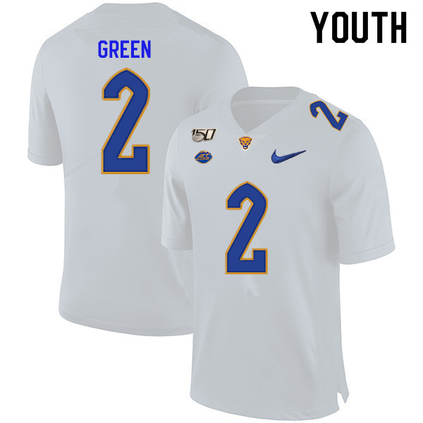 2019 Youth #2 David Green Pitt Panthers College Football Jerseys Sale-White