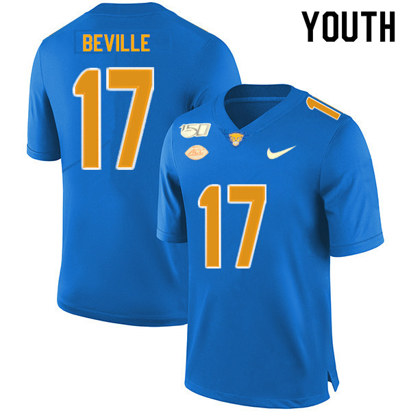 2019 Youth #17 Davis Beville Pitt Panthers College Football Jerseys Sale-Royal
