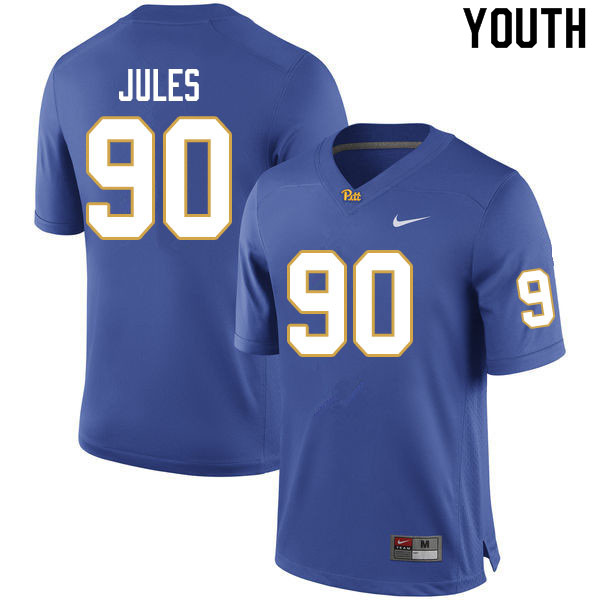 Youth #90 Deandre Jules Pitt Panthers College Football Jerseys Sale-Royal