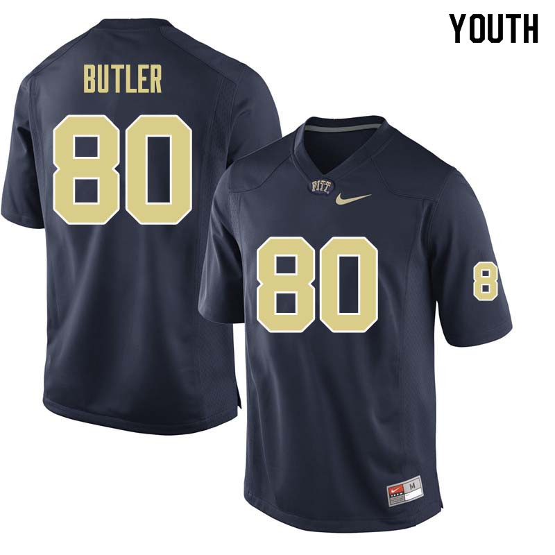 Youth #80 Dontavius Butler Pittsburgh Panthers College Football Jerseys Sale-Navy