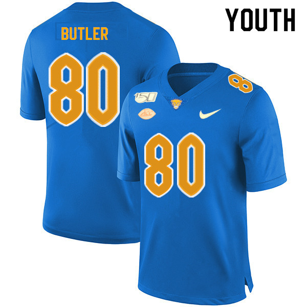 2019 Youth #80 Dontavius Butler Pitt Panthers College Football Jerseys Sale-Royal