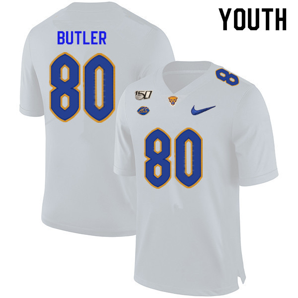 2019 Youth #80 Dontavius Butler Pitt Panthers College Football Jerseys Sale-White