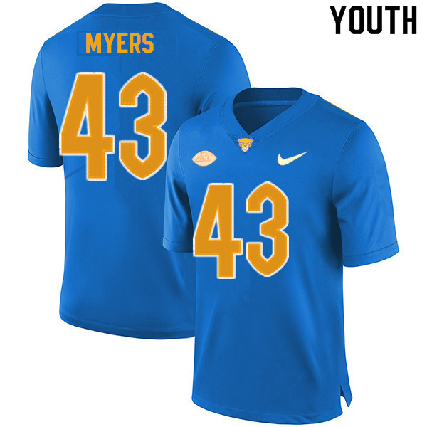 Youth #43 Eli Myers Pitt Panthers College Football Jerseys Sale-New Royal