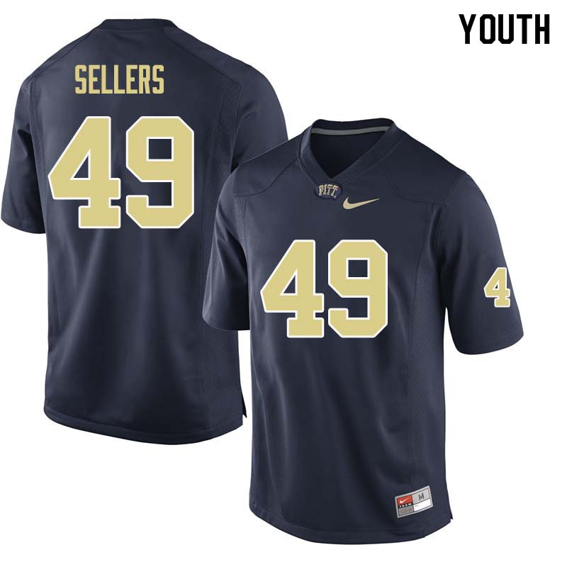 Youth #49 Erik Sellers Pittsburgh Panthers College Football Jerseys Sale-Navy