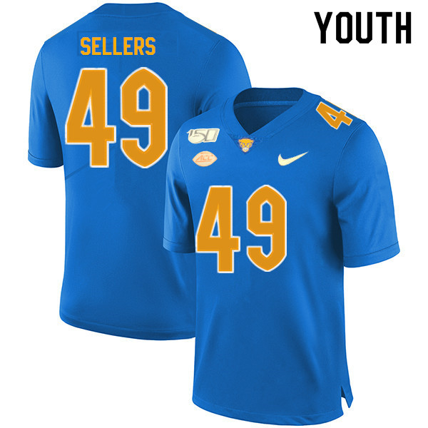 2019 Youth #49 Erik Sellers Pitt Panthers College Football Jerseys Sale-Royal