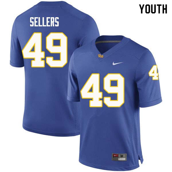 Youth #49 Erik Sellers Pittsburgh Panthers College Football Jerseys Sale-Royal