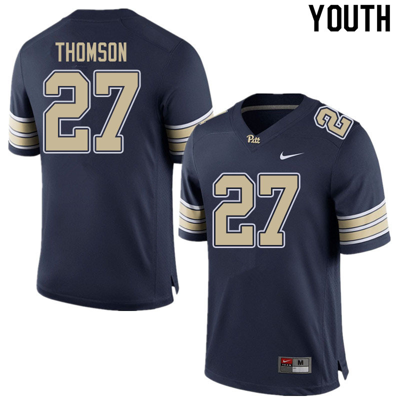 Youth #27 Gavin Thomson Pitt Panthers College Football Jerseys Sale-Home Navy