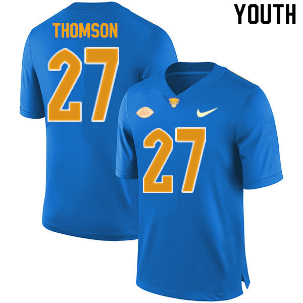 Youth #27 Gavin Thomson Pitt Panthers College Football Jerseys Sale-New Royal