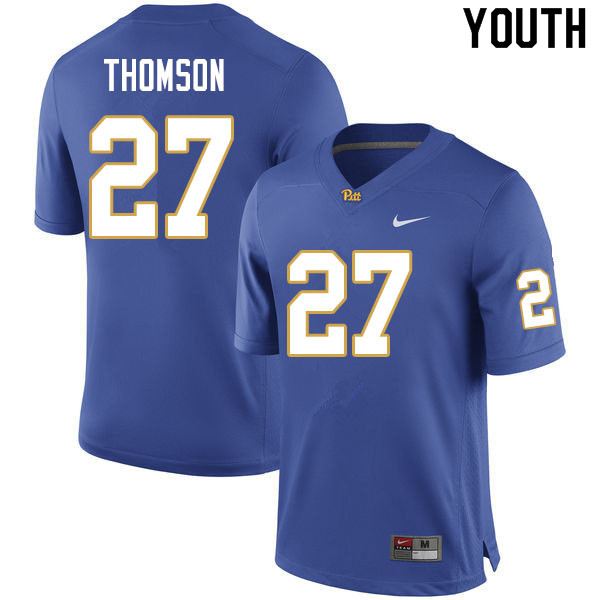Youth #27 Gavin Thomson Pitt Panthers College Football Jerseys Sale-Royal