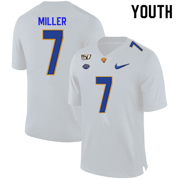 2019 Youth #7 Henry Miller Pitt Panthers College Football Jerseys Sale-White