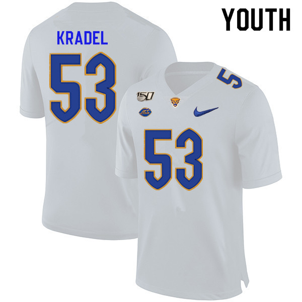 2019 Youth #53 Jake Kradel Pitt Panthers College Football Jerseys Sale-White