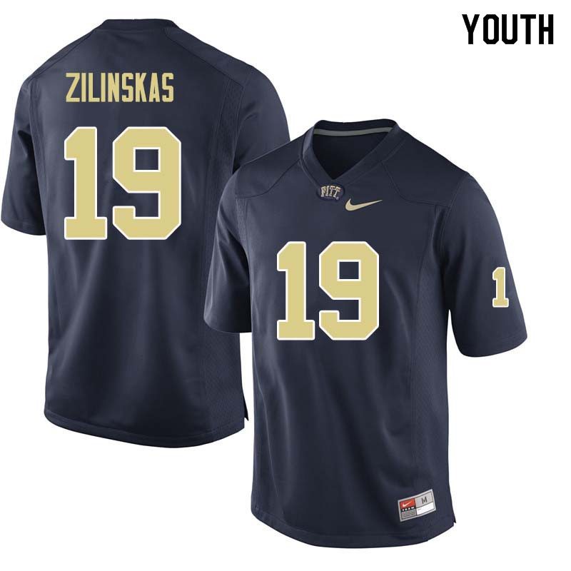 Youth #19 Jake Zilinskas Pittsburgh Panthers College Football Jerseys Sale-Navy