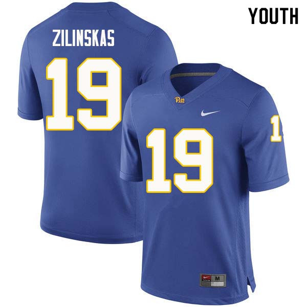 Youth #19 Jake Zilinskas Pittsburgh Panthers College Football Jerseys Sale-Royal