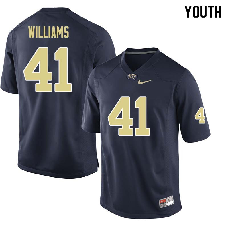 Youth #41 Jalen Williams Pittsburgh Panthers College Football Jerseys Sale-Navy