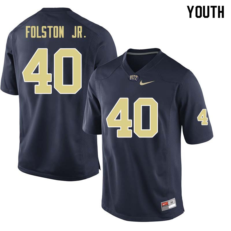 Youth #40 James Folston Jr. Pittsburgh Panthers College Football Jerseys Sale-Navy