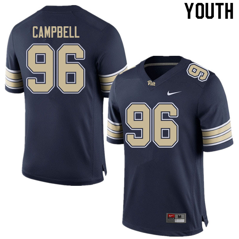 Youth #96 Jared Campbell Pitt Panthers College Football Jerseys Sale-Home Navy