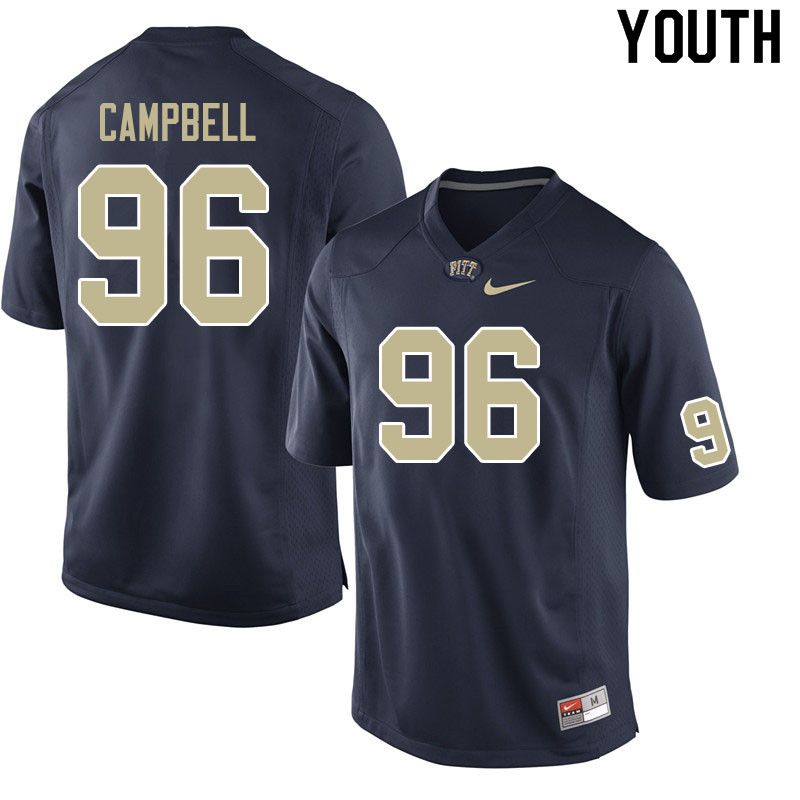 Youth #96 Jared Campbell Pitt Panthers College Football Jerseys Sale-Navy