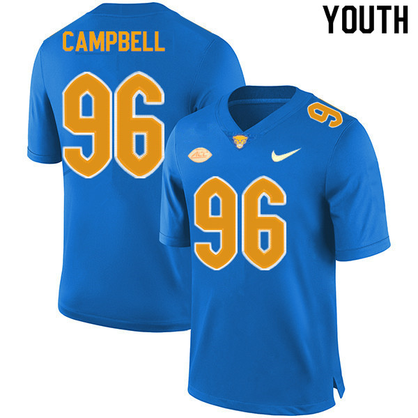 Youth #96 Jared Campbell Pitt Panthers College Football Jerseys Sale-New Royal