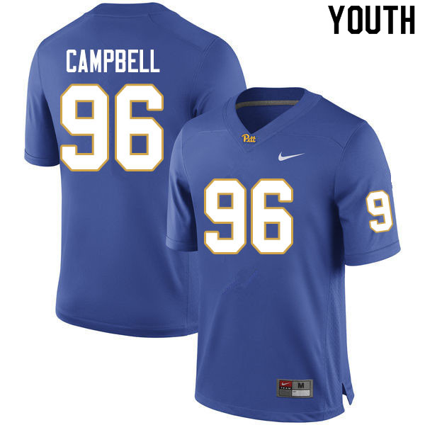 Youth #96 Jared Campbell Pitt Panthers College Football Jerseys Sale-Royal