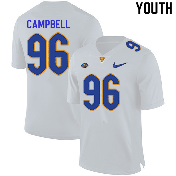 Youth #96 Jared Campbell Pitt Panthers College Football Jerseys Sale-White