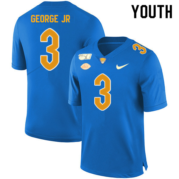 2019 Youth #3 Jeff George Jr. Pitt Panthers College Football Jerseys Sale-Royal