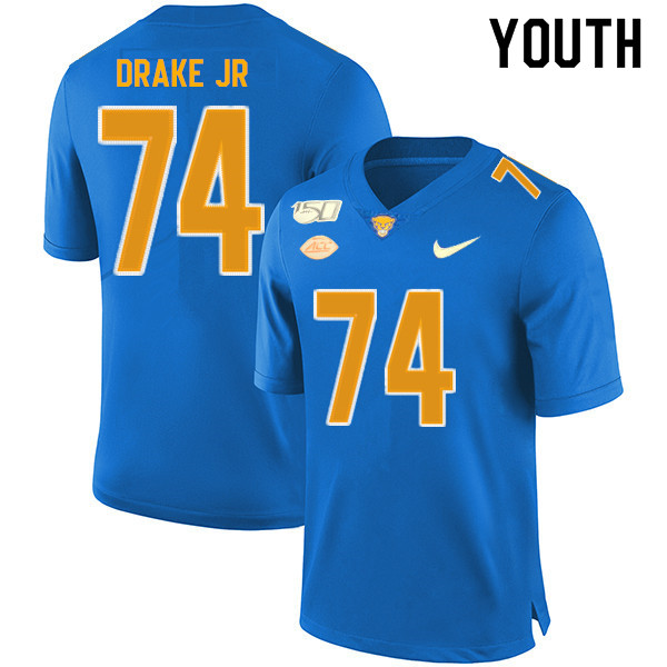 2019 Youth #74 Jerry Drake Jr. Pitt Panthers College Football Jerseys Sale-Royal