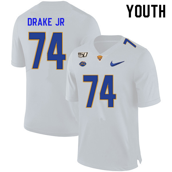 2019 Youth #74 Jerry Drake Jr. Pitt Panthers College Football Jerseys Sale-White