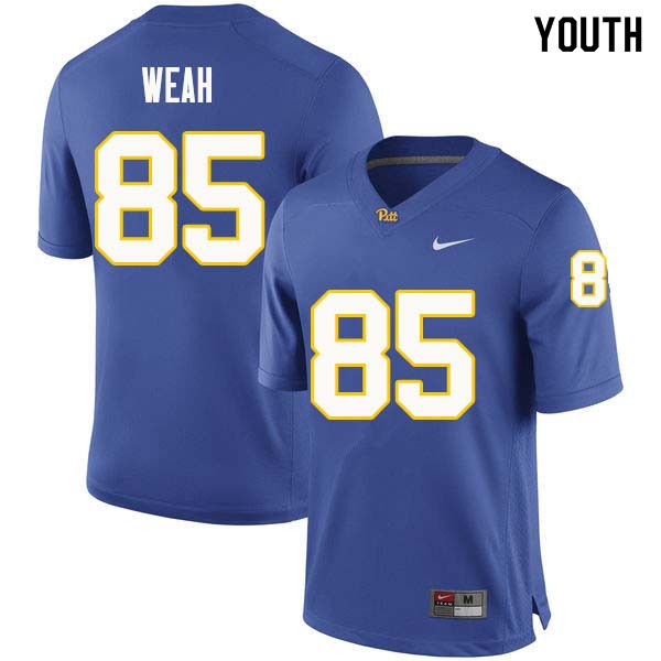 Youth #85 Jester Weah Pittsburgh Panthers College Football Jerseys Sale-Royal