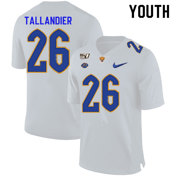 2019 Youth #26 Judson Tallandier Pitt Panthers College Football Jerseys Sale-White