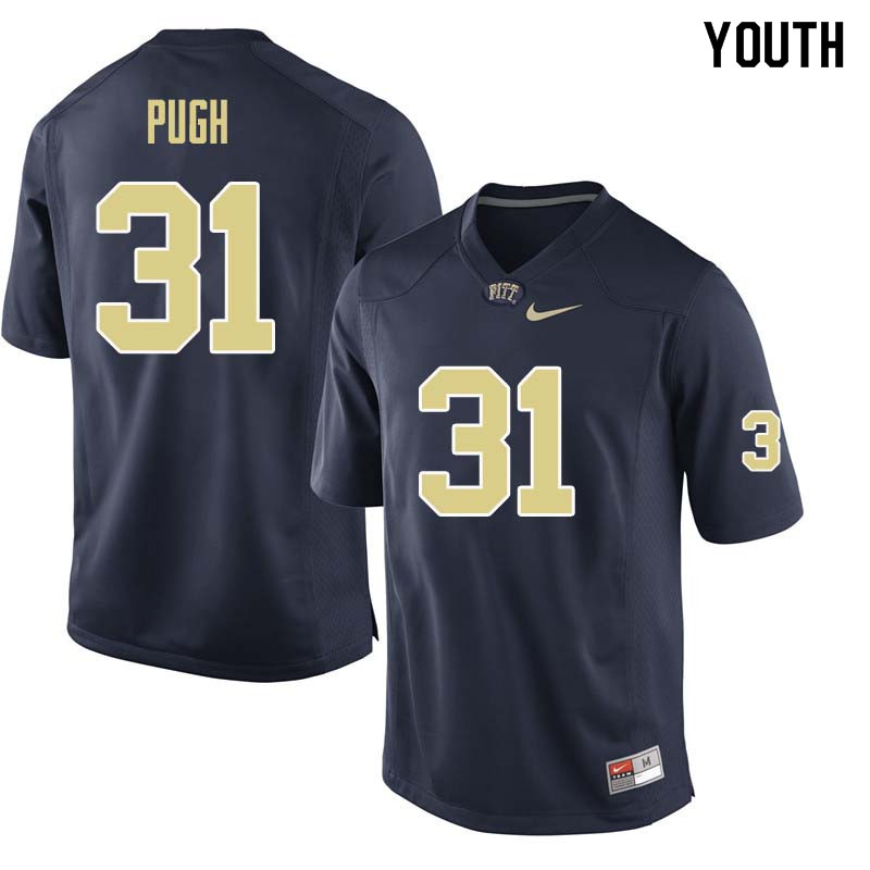 Youth #31 Kaezon Pugh Pittsburgh Panthers College Football Jerseys Sale-Navy
