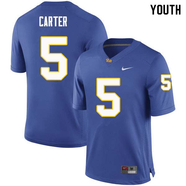 Youth #5 Kamonte Carter Pittsburgh Panthers College Football Jerseys Sale-Royal