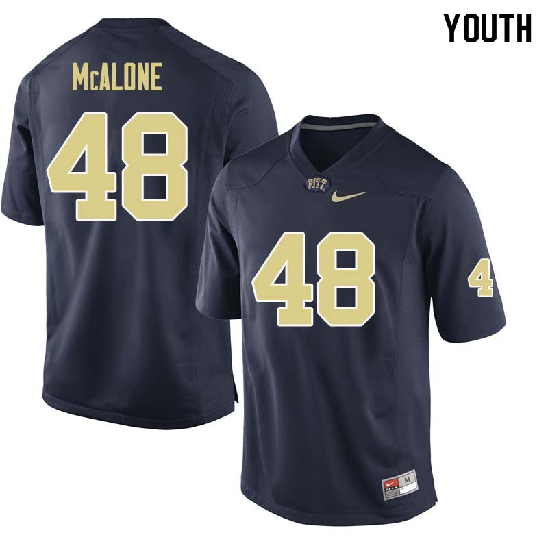 Youth #48 Kellen McAlone Pittsburgh Panthers College Football Jerseys Sale-Navy