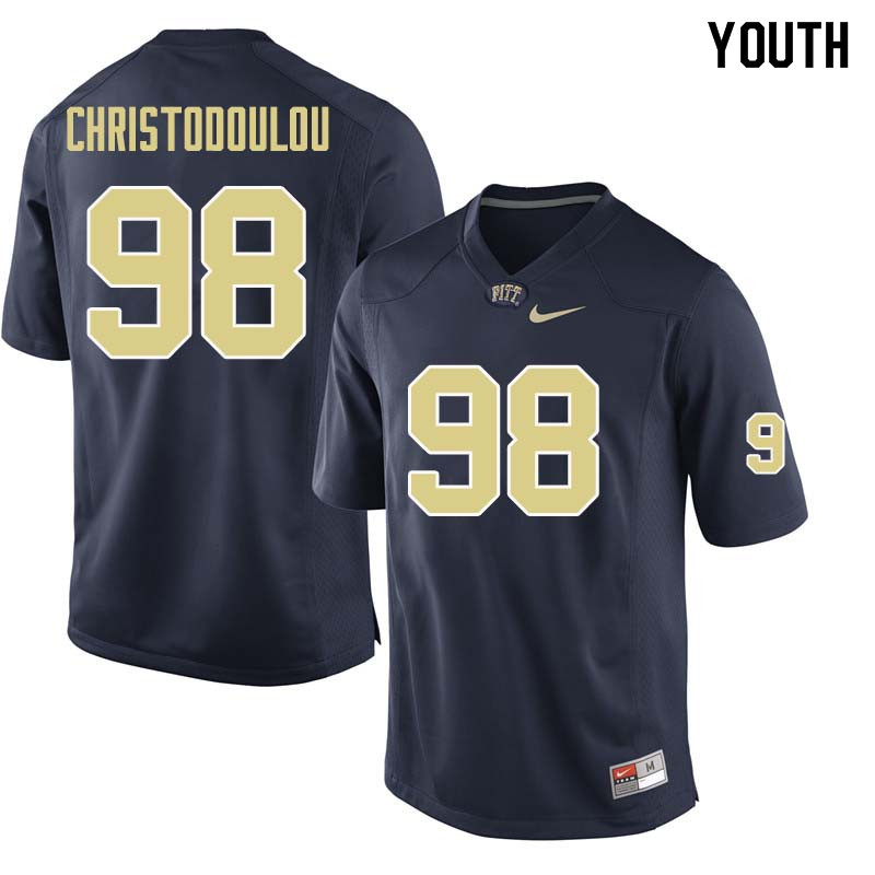 Youth #98 Kirk Christodoulou Pittsburgh Panthers College Football Jerseys Sale-Navy
