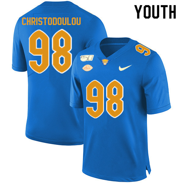 2019 Youth #98 Kirk Christodoulou Pitt Panthers College Football Jerseys Sale-Royal