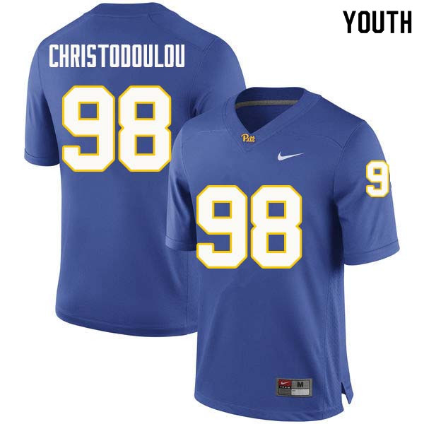 Youth #98 Kirk Christodoulou Pittsburgh Panthers College Football Jerseys Sale-Royal