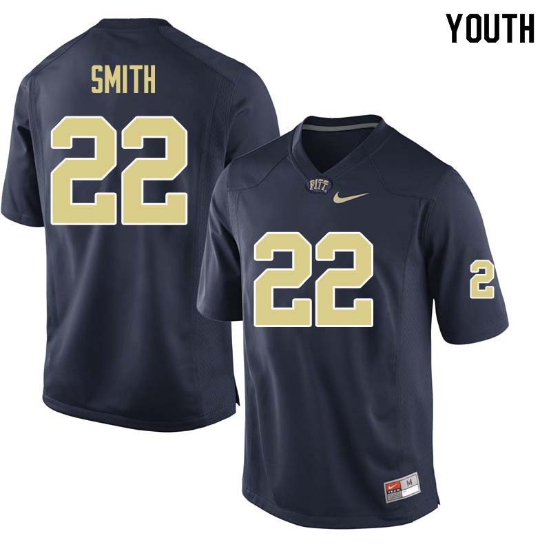 Youth #22 Kollin Smith Pittsburgh Panthers College Football Jerseys Sale-Navy