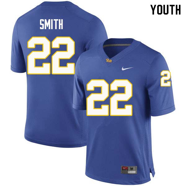 Youth #22 Kollin Smith Pittsburgh Panthers College Football Jerseys Sale-Royal