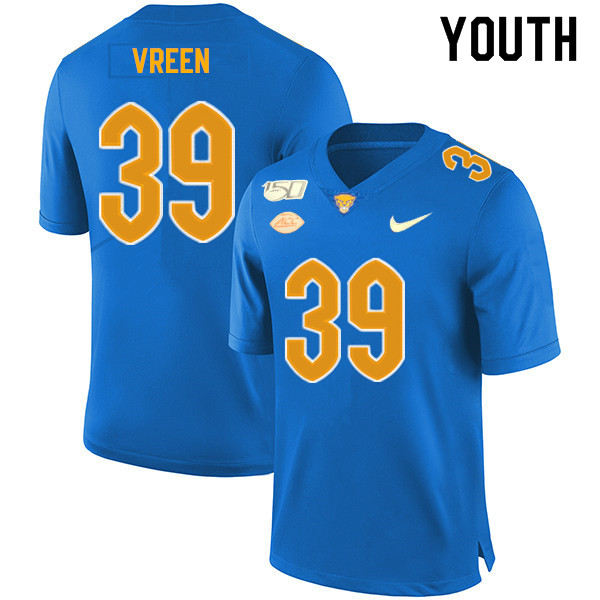 2019 Youth #39 Kyle Vreen Pitt Panthers College Football Jerseys Sale-Royal