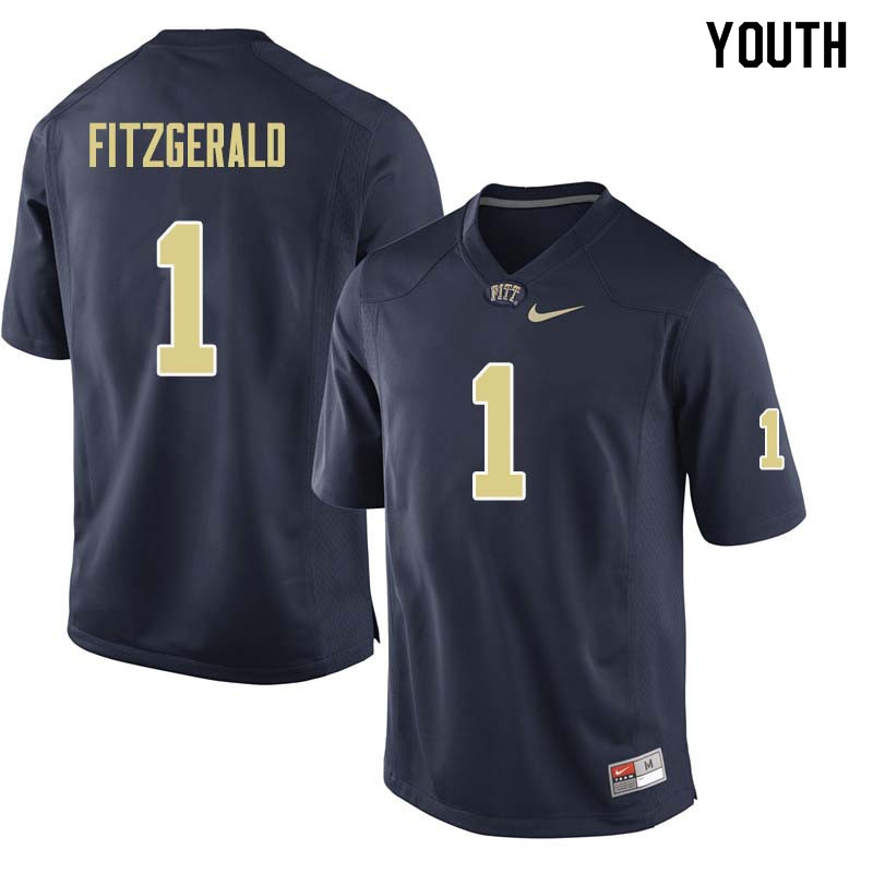Youth #1 Larry Fitzgerald Pittsburgh Panthers College Football Jerseys Sale-Navy