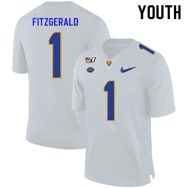 2019 Youth #1 Larry Fitzgerald Pitt Panthers College Football Jerseys Sale-White