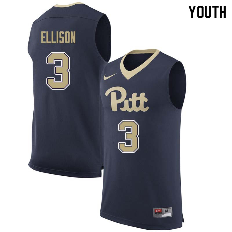 Youth #3 Malik Ellison Pittsburgh Panthers College Basketball Jerseys Sale-Navy