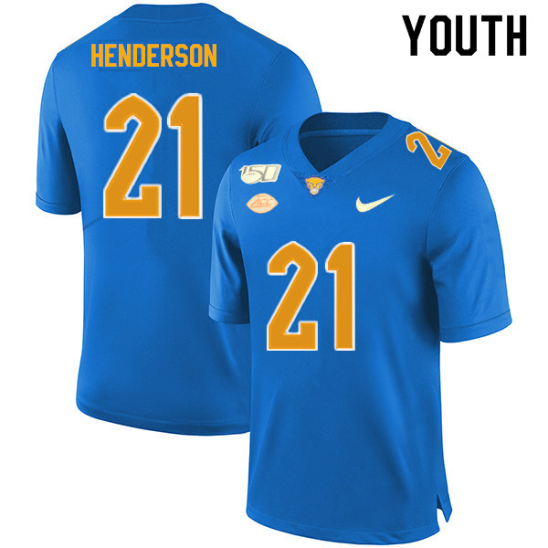2019 Youth #21 Malik Henderson Pitt Panthers College Football Jerseys Sale-Royal