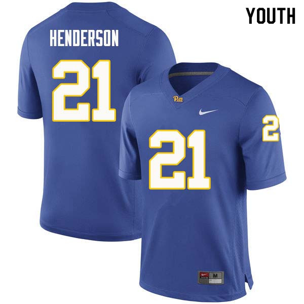 Youth #21 Malik Henderson Pittsburgh Panthers College Football Jerseys Sale-Royal